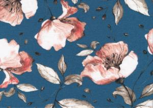 T5562 Jersey Fabric Flower on blue Background