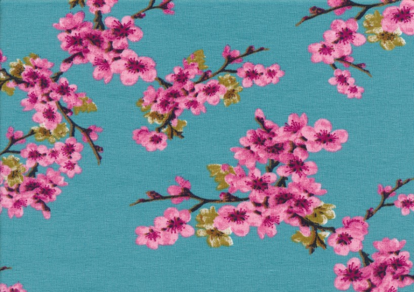 T5563 Jersey Fabric pink Flowers