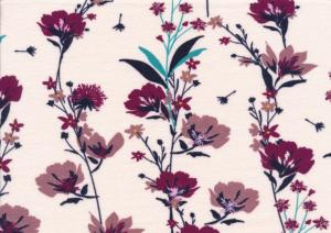 T5564 Jersey Fabric Flowers dusty pink