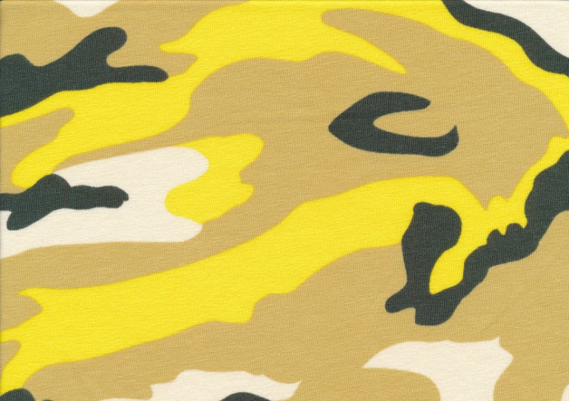 T5565 Jersey Fabric Camouflage yellow
