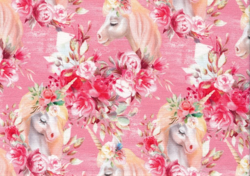 T5571 Jersey Fabric Unicorn in Flowers