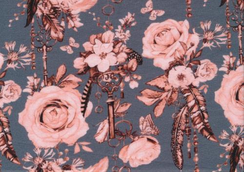 T5631 Trikå Romantiska blommor grön