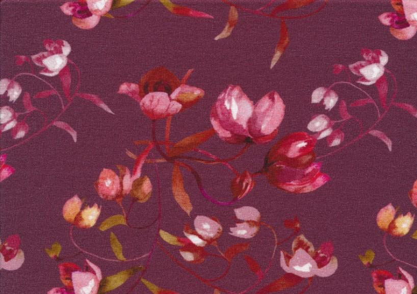 T5633 Viscosetrikå Blommor vinröd