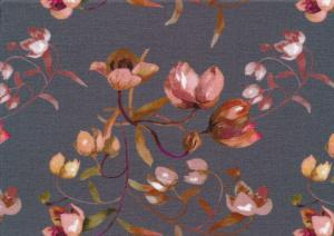 T5633 Viscosetrikå Blommor grå