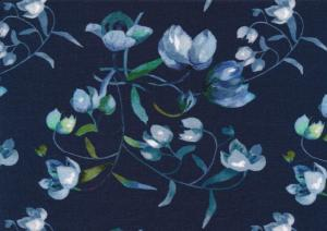 T5633 Viscosetrikå Blommor mörkblå