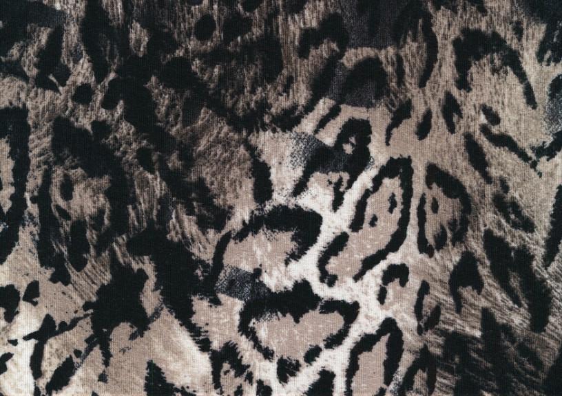 T5652 Viscosetrikå Djurmönstrad brun