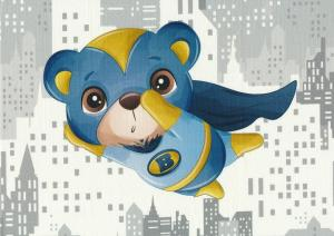 T5677 Sweatshirt Fabric Super Hero Bear blue (40 x 50 cm)