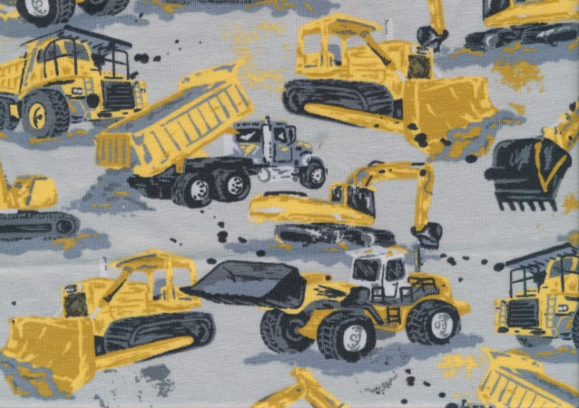 T5678 Trikå Gula arbetsmaskiner