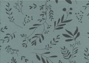 T5681 Jersey Fabric Leaves green