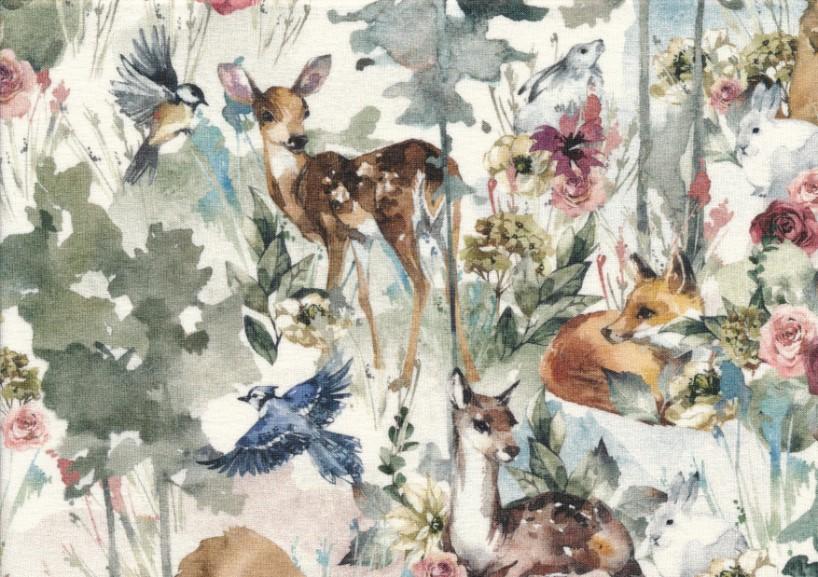 T5687 Sweatshirt Fabric Wood Animals in Flowers