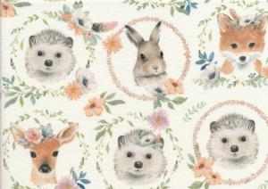 T5688 Sweatshirt Fabric Animals in Wreaths offwhite