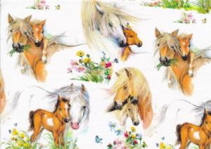 T5699 Jersey Fabric Horses white