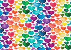T5701 Jersey Fabric Colourful Hearts white