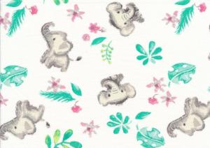 T5703 Jersey Fabric Elephant white