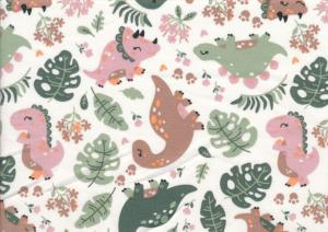 T5705 Jersey Fabric Dinosaurs pink