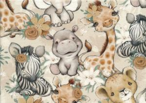 T5707 Sweatshirt Fabric African Animals and Flowers