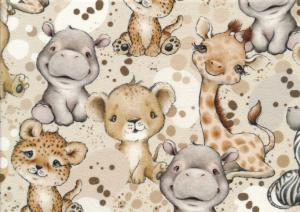T5708 Sweatshirt Fabric African Animals and Dots