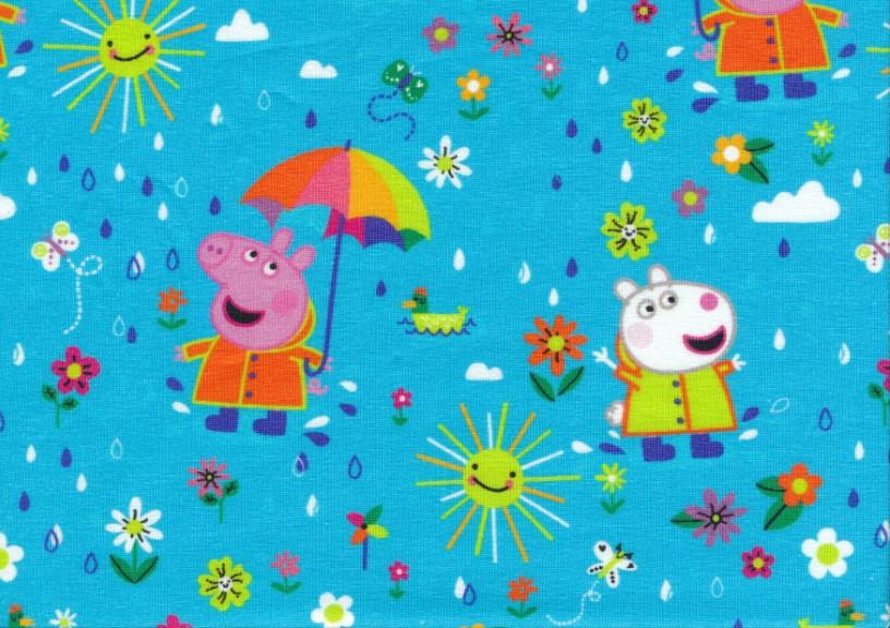 T5713 Trikå Greta Gris med paraply blå