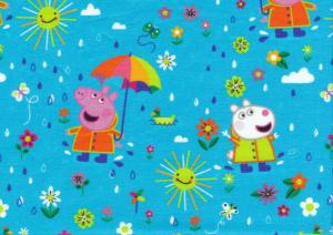 T5713 Jersey Fabric Peppa Pig with Umbrella blue