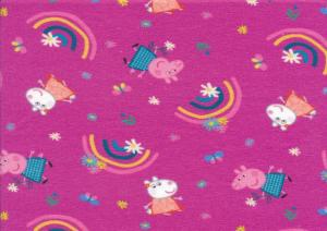 T5714 Jersey Fabric Peppa Pig and Rainbows pink