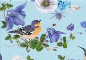 T5737 Trikå Blommor och bofinkar blå