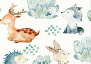 T5779 Trikå Djur i blåbärsskog