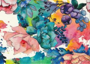 T5789 Trikå Färgglada blommor