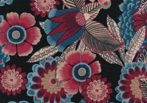 T5822 Viscosetrikå Röda och blå blommor