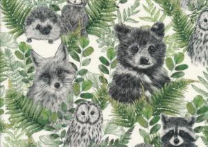 T6105 Sweatshirt Fabric Animals in Leaves