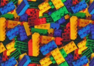 T6169 Jersey Fabric Colourful Bricks