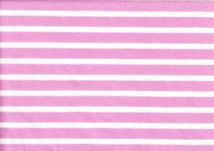 T970 Trikå med rand rosa/vit