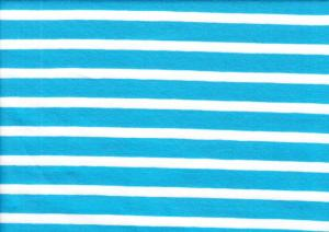 T970 Jersey Fabric Stripe turquoise/white