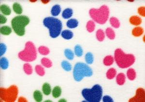 Fleece Fabric Paw white
