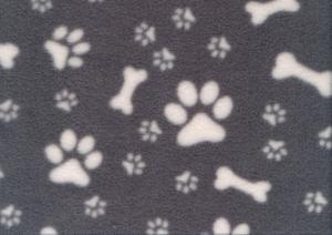 Fleece Fabric Paws and Bones grey