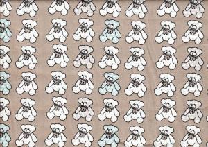 Cotton Poplin Fabric Teddy Bear grey