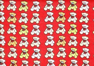 Cotton Poplin Fabric Teddy Bear red