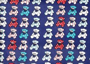 Cotton Poplin Fabric Teddy Bear blue