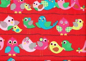 Cotton Poplin Fabric Birds on Wire red