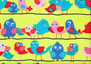 Cotton Poplin Fabric Birds on Wire lime green
