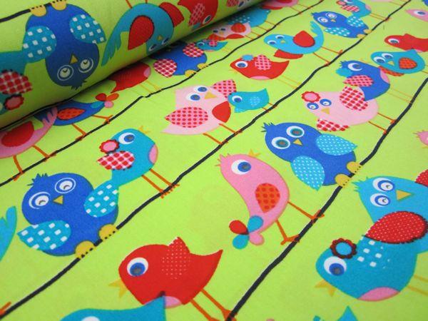 Poplin Fågel på ledning limegrön