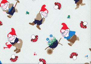 Cotton Poplin Fabric Gnomes and Dots green