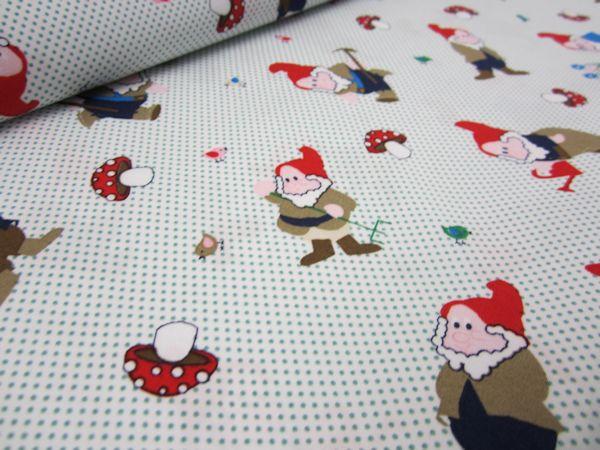 Cotton Poplin Fabric Gnomes and Dots green