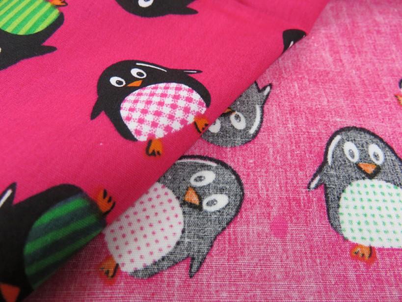 Poplin pingvin cerise