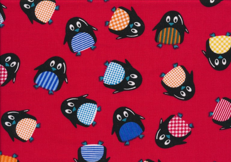 Poplin pingvin röd