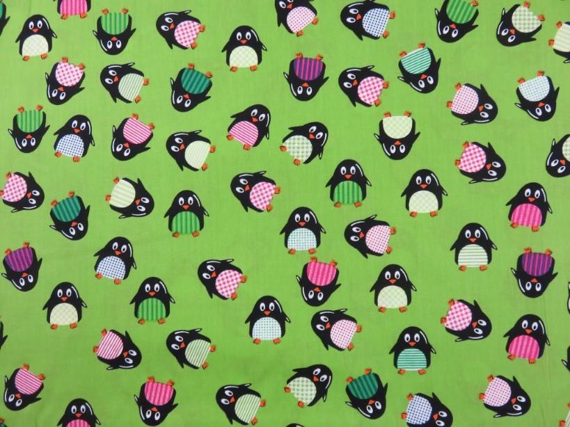 Poplin pingvin grön