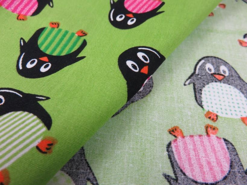 Cotton Poplin Fabric Penguin green