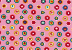 Cotton Poplin Fabric stars in Circle pink
