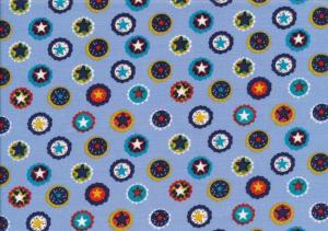 Cotton Poplin Fabric stars in Circle blue