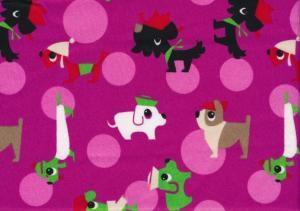 Cotton Poplin Fabric Dogs fushia