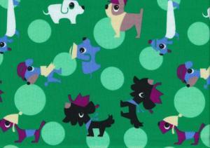 Cotton Poplin Fabric Dogs green